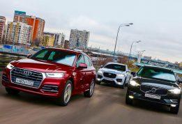 Большой тест Audi Q5, Volvo XC60 и Jaguar F-Pace